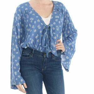 Free People S Blue Daisy Print Bodysuit NWT 3U76